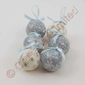 Set of 6 Snowflake Decoupage Baubles