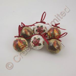 Set of 6 Decoupage Christmas Baubles