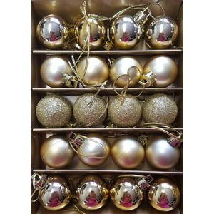 Christmas Tree Baubles - Shatterproof Gold Pack of 20 Assorted (Small)