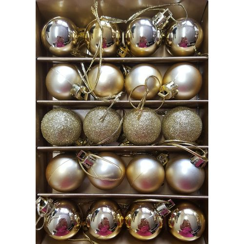 Christmas Tree Shatterproof  Baubles - Gold Small Set of 12 Assorted