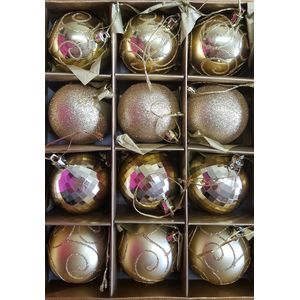 Christmas Tree Baubles - Shatterproof Gold Pack of 12 Assorted (Medium)