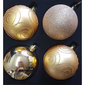 Christmas Tree Baubles - Shatterproof Gold Pack of 4 Assorted (Large)