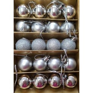 Christmas Tree Baubles - Shatterproof Silver Pack of 20 Assorted (Small)