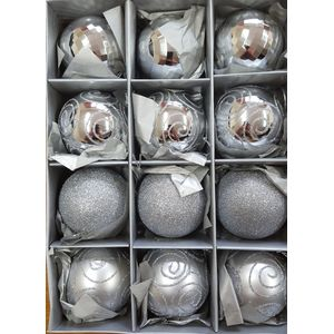 Christmas Tree Baubles - Shatterproof Silver Pack of 12 Assorted (Medium)