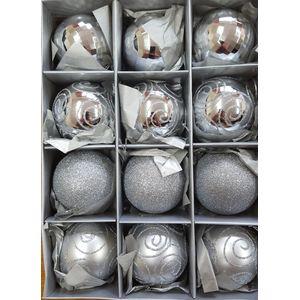 Pack of 12 Medium Xmas Tree Baubles - Silver
