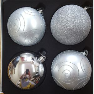 Christmas Tree Baubles - Shatterproof Silver Pack of 4 Assorted (Large)