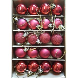 Christmas Tree Baubles - Shatterproof Red Pack of 20 Assorted (Small)