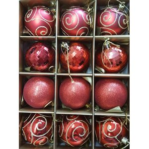 Christmas Tree Baubles - Shatterproof Red Pack of 12 Assorted (Medium)