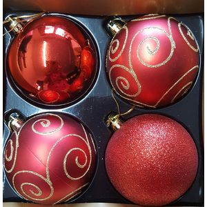 Christmas Tree Baubles - Shatterproof Red Pack of 4 Assorted (Large)
