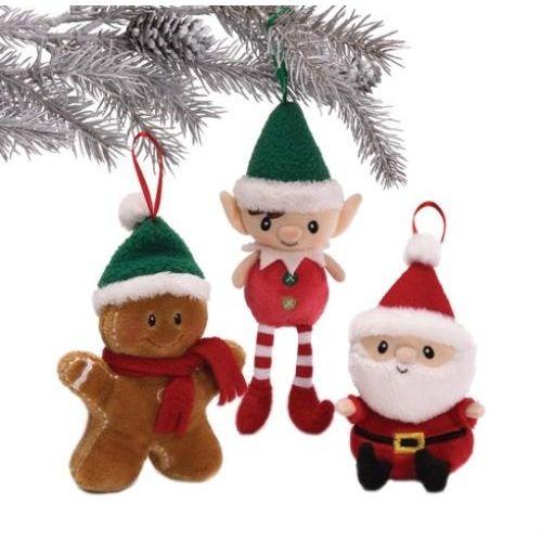 GUND Santa`s Village Ornaments Gingerbread Man Elf Santa Ref 4029205