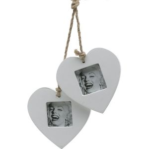 Double Wooden Heart hanging Photo Frame