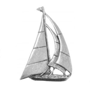 English Pewter Yacht Tie Pin or Lapel Badge