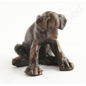 Puppy Getting Sleepy Bronze Figurine