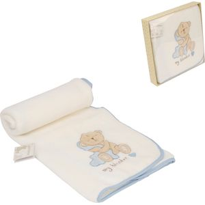 Button Corner Embroided Blanket - Baby Boy Gift