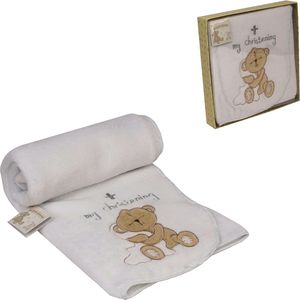 Button Corner embroidered blanket - Christening