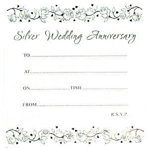 25th Silver Anniversary Invitations x50
