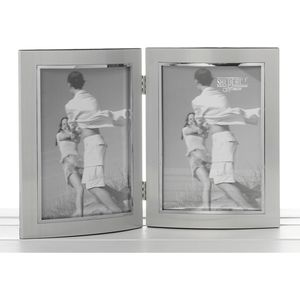 Silver Double Photo Frame 5x7""