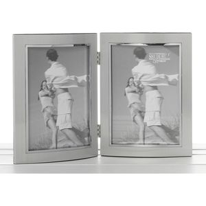 Silver Double Photo Frame 4x6""