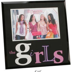 "Juliana Impressions Black Glass Photo Frame 6"" x 4"" - The Girls"