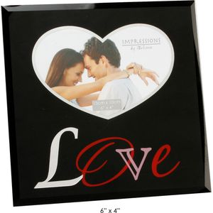 Love Black Glass Photo Frame 6x4""