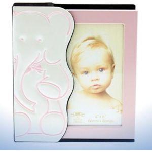 "Baby Photo Album Holds 48 4"" x 6"" Prints - Pink Elephant Design"