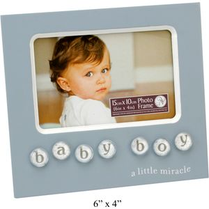 "Baby Boy Bubble Tile MDF Photo Frame 6"" X 4"""
