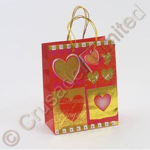 Hearts Gift Bag 10x13 cm pack of 12