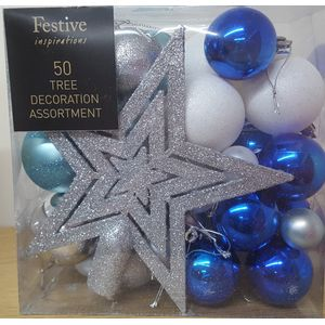 50 Pieces Assorted Baubles- Silver White & Blue
