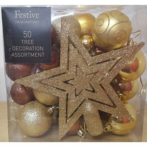 Christmas Tree Decoration Assortment (50 Pieces) - Bronze & Gold