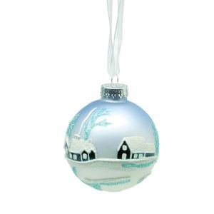 Village Scene Glass Bauble Decoration - Set of 4
