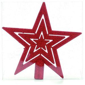 Christmas Tree Topper - Red Glitter Star