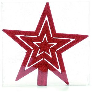 Glitter Christmas Tree Top Star - Red