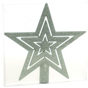 Glitter Christmas Tree Top Star - Silver