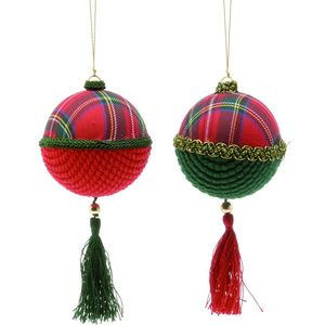 Christmas Tree Hanging Decorations - Red Tartan Fabric Sphere Pack of 2 Assorted
