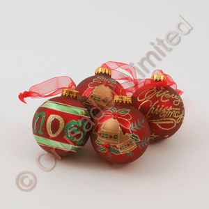 12 x 65mm assorted Mulled Red Christmas Tree Baubles