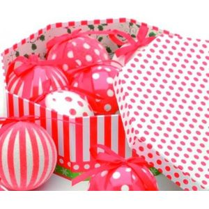 Christmas Tree Baubles - Decoupage Red & White Spots/Stripes Pack of 7 Assorted