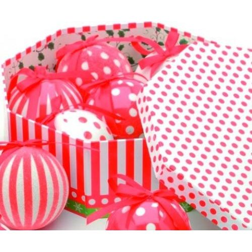 Christmas Tree Baubles - Decoupage Sopts & Stripes Pack of 7 Assorted
