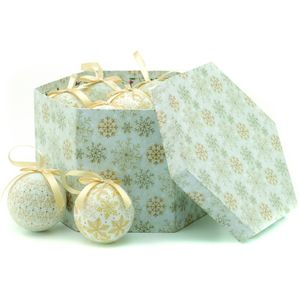 Christmas Tree Baubles - Decoupage Cream & Gold Snowflake Pack of 14 Assorted