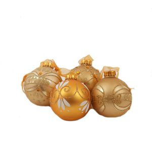 Decorative Gold Christmas Tree Baubles set of 12
