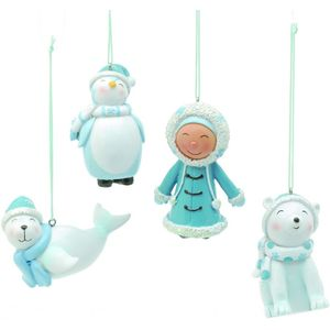 Festive Hanging Ornaments Set - Arctic Ice (Eskimo Penguin Seal & Polar Bear)