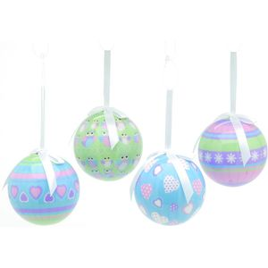 Pastel colours decoupage baubles set of 4