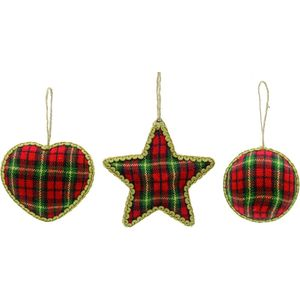 Christmas Tree Hanging Decorations - Red Tartan Fabric Pack of 3 Assorted