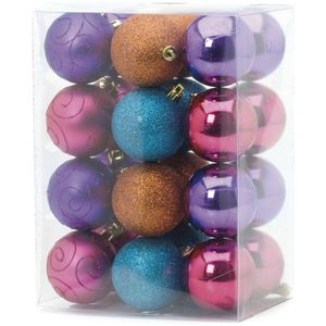 Multi coloured tree decorations set of 24