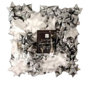Gift Wrapping - Tom Smith Luxury Silver & White Gift Bows Pack of 40