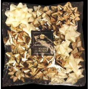 Christmas Wrapping - Tom Smith Luxury Gold & Ivory Gift Bows Pack of 40