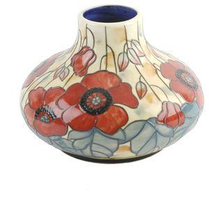 "Old Tupton Ware Yellow Poppy Squat Vase 6"""