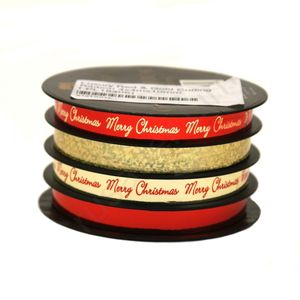 Tom Smith Luxury Red & Gold Curling Ribbon 4x4mx10mm