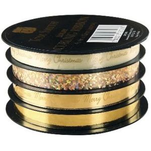 Christmas Wrapping - Tom Smith Luxury Gold Curling Ribbon 4m x 10mm Pack 0f 4