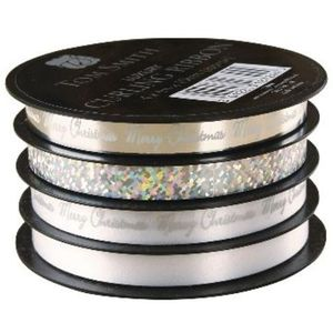 Christmas Wrapping - Tom Smith Luxury Silver Curling Ribbon 4m x10mm Pack of 4