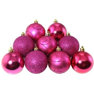 Set of 9 x 60mm assorted baubles - pink